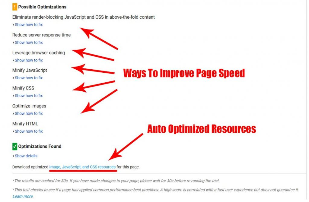 How to find auto optomized content and suggestions in page speed insights